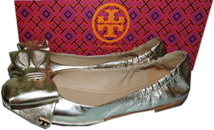 Tory Burch gold Leather Divine Bow Driver Ballet Spark Women's Flats Ballerina 6