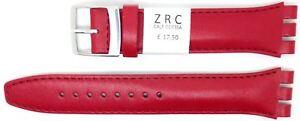 NUEVO-zrc-19mm-22mm-Correa-de-Reloj-Cuero-Compatible-para-SWATCH-Rojo