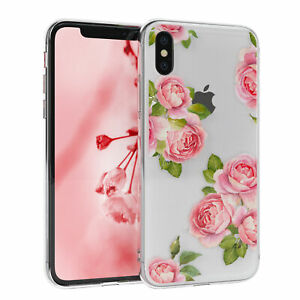 Fuer-Apple-iPhone-X-iPhone-XS-Huelle-Silikon-Case-Cover-Tasche-Transparent-Blumen
