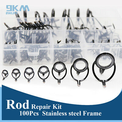 Details about Ceramic Ring Rod Repair Kit 100Pcs Mixed Size Fishing Rod Guides Line Rings