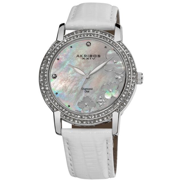 Women's Akribos XXIV AK580SSW Mother of Pearl Flower Diamond White Strap Watch