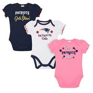 new arrival 5bef1 39d25 Details about New England Patriots Baby Girl Onesie Bodysuit 3 Pk - Gerber  NFL Newborn 3-6m