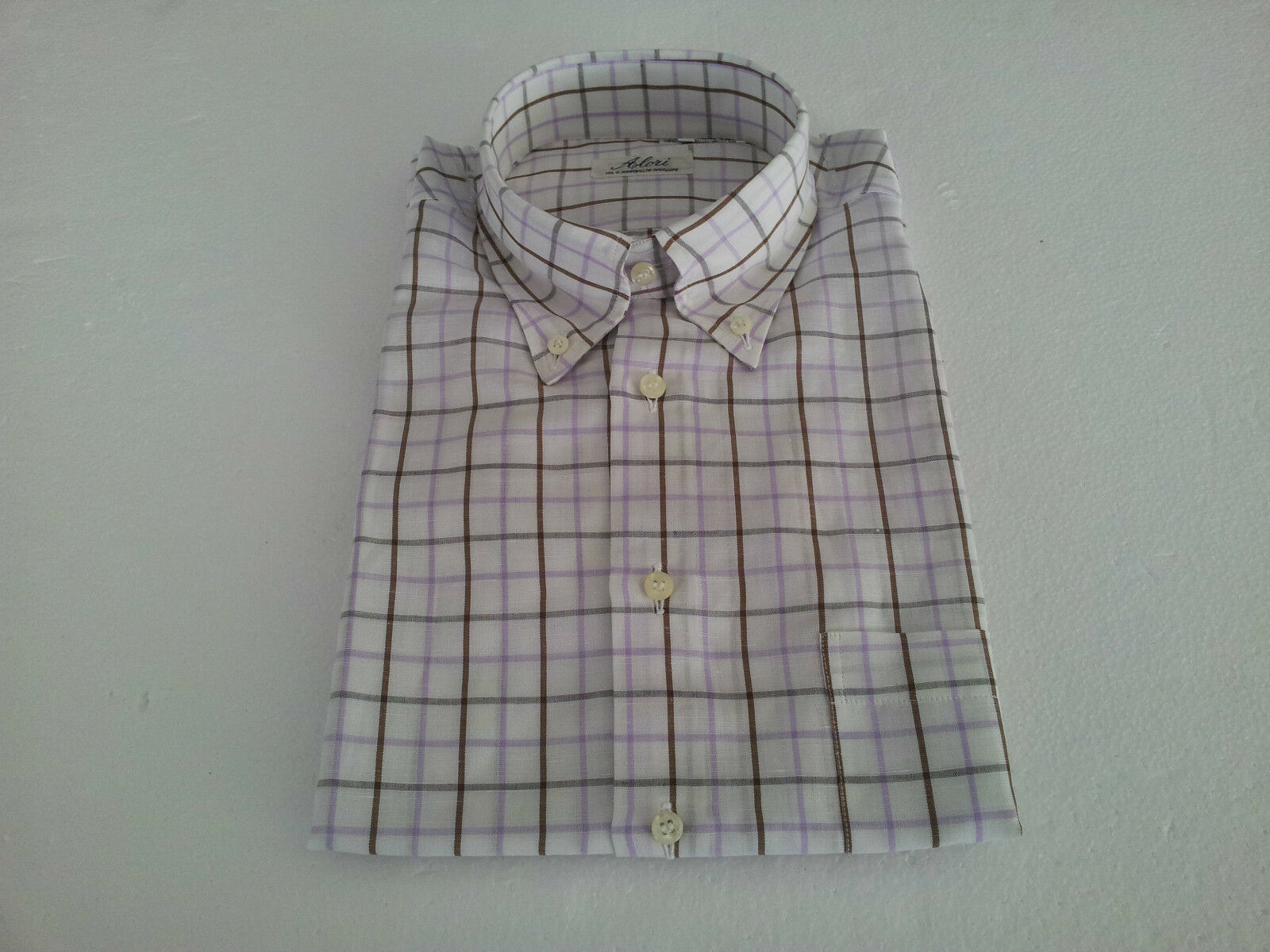 ALORI1961 men's shirts short sleeves 50 % cotton 50 % linen Made in