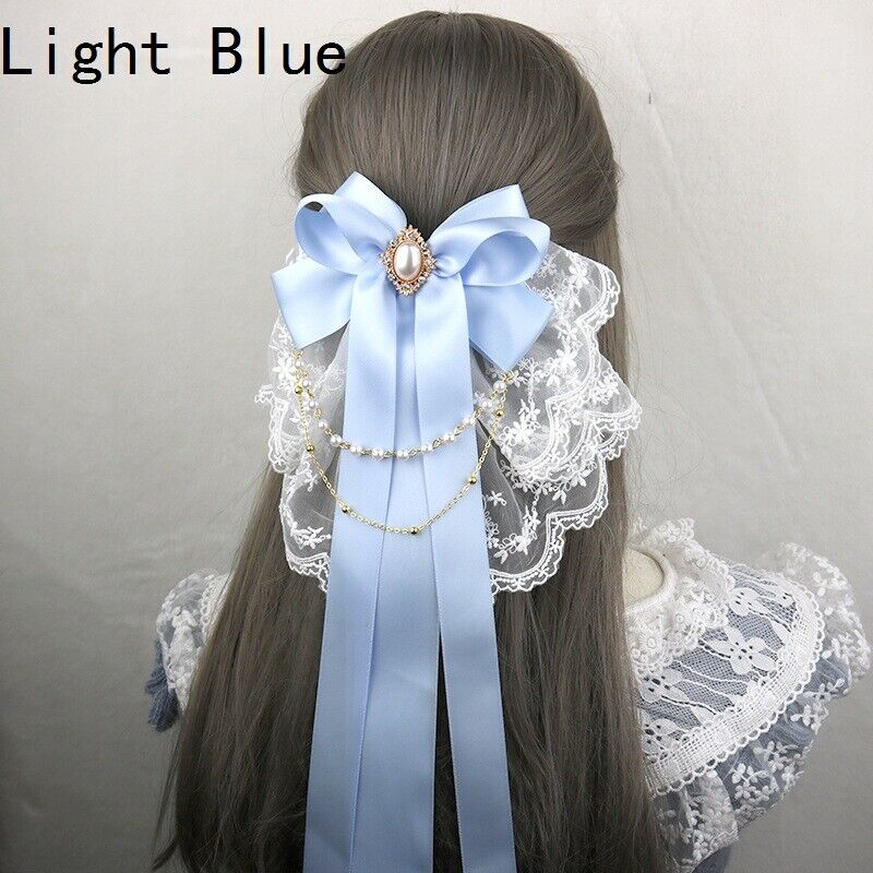 Women Long Ribbon Bow Hairpin Embroidery Lace Satin Beaded Chain Hair Clip Retro