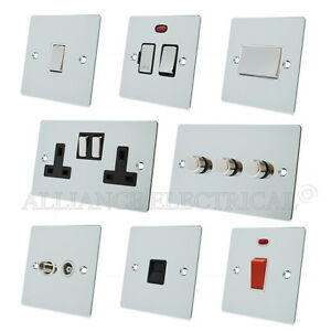 Full-Range-Polished-Chrome-Flat-Sockets-Switches-Dimmers-White-Ins-Metal-Rocker