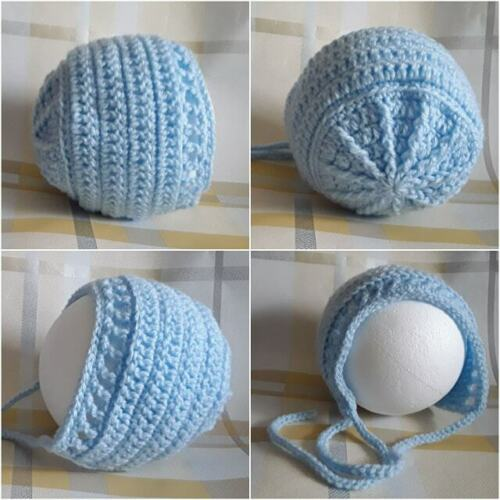 HAT WITH TIES SHADES OF BLUE NEWBORN TO 3-6 MONTHS HAND CROCHETED