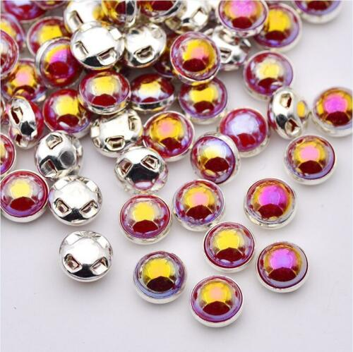 50 X 8MM RED PEARL AB SEW ON BUTTONS BEADS EMBELLISHMENTS CRAFT APPLIQUE