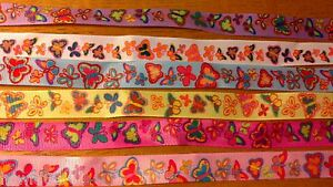 6-x-28cm-15mm-Mixed-Butterfly-Grosgrain-Ribbon-Cardmaking-Scrapbooking