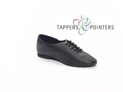 PREMIUM BLACK LEATHER TAPPERS /& POINTERS JAZZ//DANCE//DISCO SHOES WITH LACES