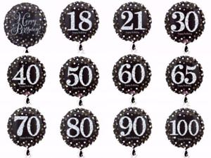 """18"""" ROUND Black & Gold HAPPY BIRTHDAY Helium Foil BALLOON Ages 18-100 Party"""
