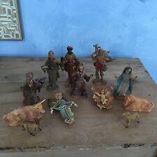 Vtg Nativity Figurines Plastic Rubber Donkey Cow Jesus Manger Sheep + 12 Pieces