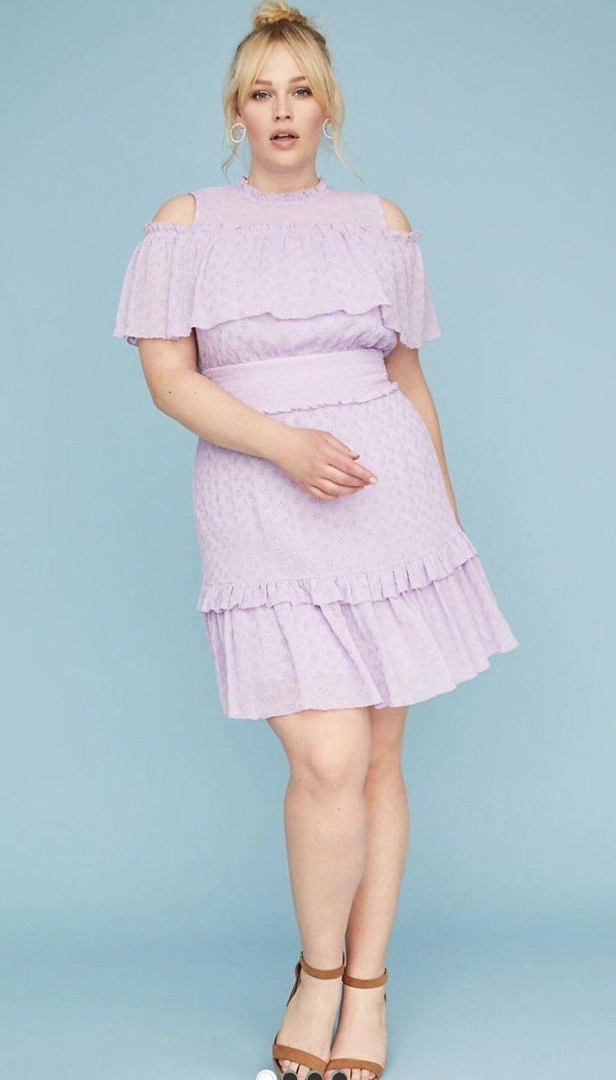 Lane Bryant purplec Eyelet Lace Fit & Flare Cold Shoulder Dress 22 22W 2X 3X