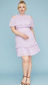 21793ced051d62 Lane Bryant Lilac Eyelet Lace Fit   Flare Cold Shoulder Dress 16 16W ...