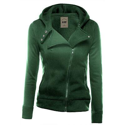 Hiver Femmes capuche sweat à capuche Zipper Pull Veste Manteau Top Jumper Jacket