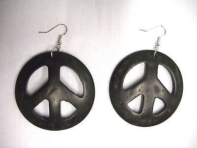 Stainless Steel 4 Color Peace Sign Circle Stud Earrings Pair