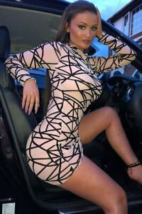 Nude-Abstract-Print-Long-Sleeved-Mesh-Bodycon-Dress