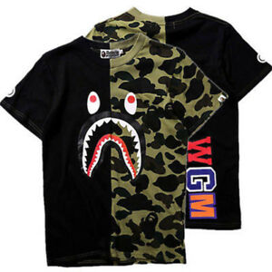 ebeb53be BAPE A BATHING APE Camo T-shirt Crew Neck Shark Head T Shirt Tops ...