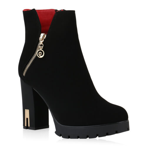 Damen Stiefeletten Plateau Boots Leicht Gefütterte High Heels 900843 Top