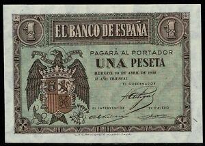 Billete de España 1 peseta 1938 Burgos A7263223 Sin circular