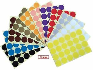Image is loading 32mm-Coloured-Dots-Round-Stickers-Sticky-Adhesive-Spot-