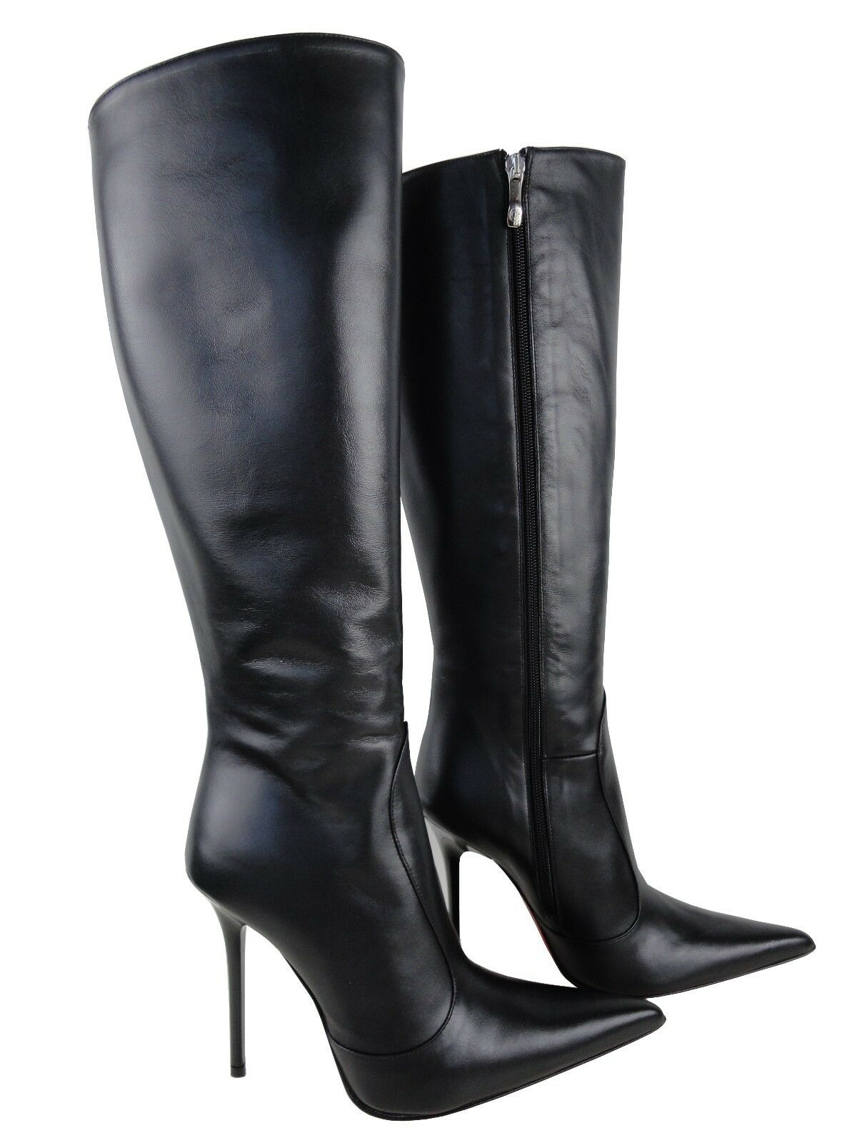CQ COUTURE CUSTOM MADE POINTY KNEE Stiefel STIEFEL STIVALI POINTY MADE LEATHER BLACK NERO 40 c90b02