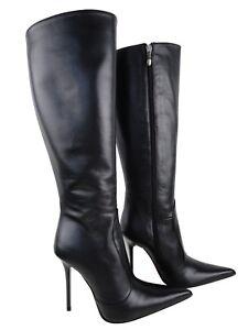 Stivali 37 Nero Stiefel Couture ginocchio al Cq nero Pelle Stivali lucido Custom TYaxq