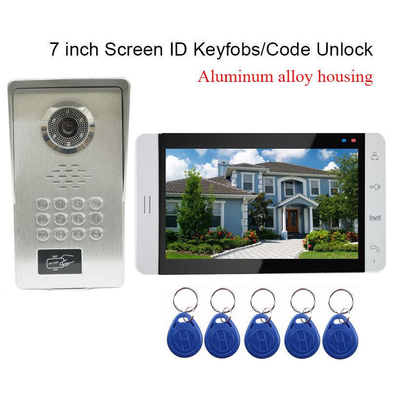 7  pulgadas Video Puerta Timbre Intercomunicador teléfono cámara de aleación de aluminio con mandos de RFID
