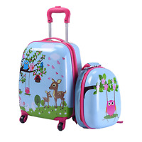 Carry On Luggage With Wheels Kids Rolling Suitcase Backpack 2pc Cute Travel Set