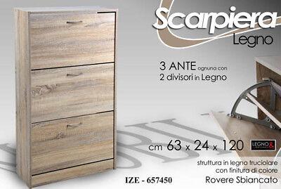Ingegnoso Scarpiera H120*63*24 Legno Truc Rovere Sbiancato Salvaspazio Slim Ize Ottima Qualità