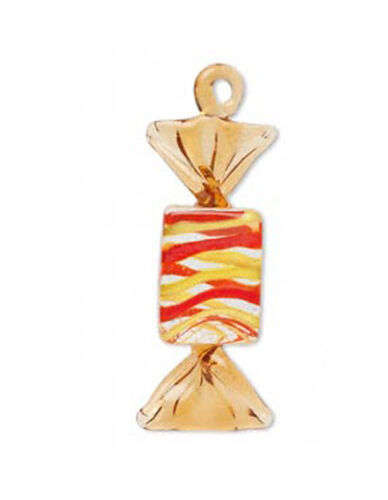 LAMPWORK CANDY PENDANT ORANGE YELLOW STRIPED 65MM