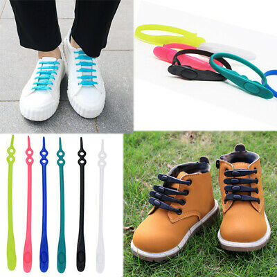 14x Walking Running Sneakers No Tie Shoelaces Elastic Silicon Shoe Lace Blue