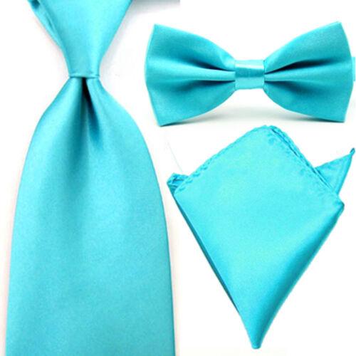 Men Satin Solid Plain Bowtie Wide Necktie Pocket Square Set Tie Handkerchief Lot