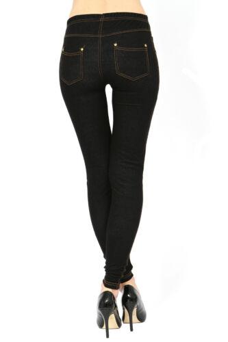 Pack de 2 pour femme Uni Taille Haute Denim Look Extensible Jeggings Leggings Pantalon