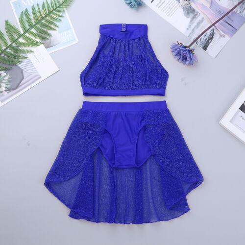Girls Kids Dance Dress Lace Crop Top+Bottoms Skirt Set Modern Dancewear Costume