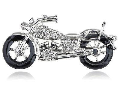 8 PC Silver Harley Davidson Crystal Rhinestone Biker Motorcycle Racer Pin Brooch