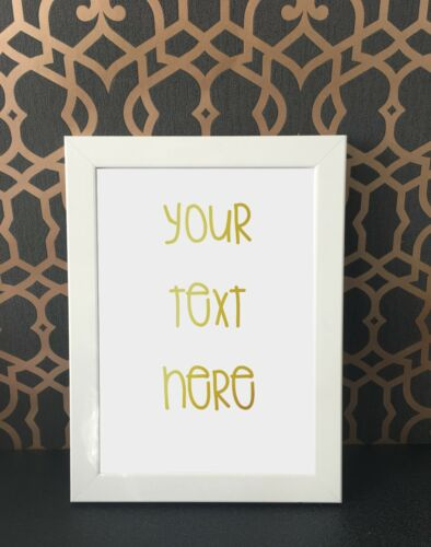 A4 REAL GOLD FOIL PERSONALISED PRINTS ANY QUOTE IMAGE WALL ART SIGN DECOR POSTER