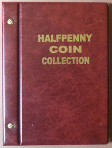 VST-AUSTRALIAN-HALF-PENNY-d-COIN-ALBUM-1910-to-1964-with-MINTAGES-RED-Colour