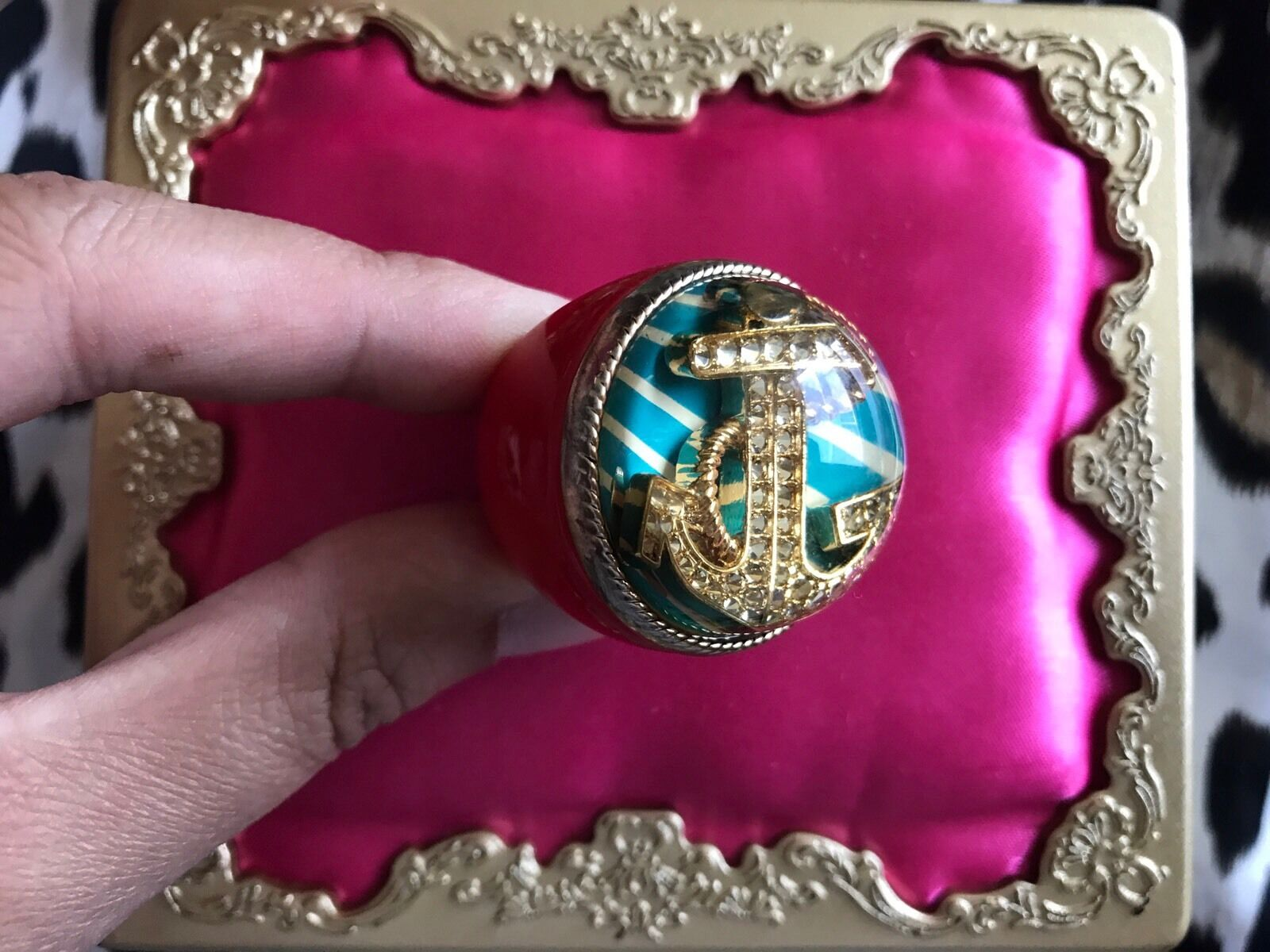 Betsey Johnson HUGE Red Lucite gold Anchor Nautical bluee Striped Bubble Ring