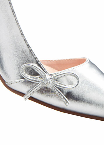 Elegante Damen Pumps Gr 42 silber Stiletto mit Cut-Outs