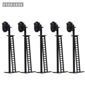 JTD02 5pcs Model Railway Block Signals G//Y//R HO or OO Scale 8.2cm 12V Led New