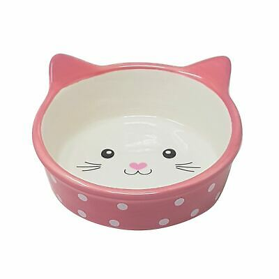"""Cat Supplies 4 X Cat Kitten Porcelain Pink Polka Dots Food Water Bowls Dish 13cm Dishes, Feeders & Fountains 5"""" Soft And Light"""