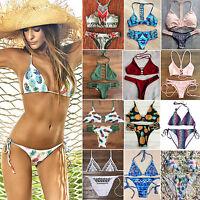 Sexy Womens Push Up Beach Swimwear Triangle Bra Bikini Set Bathing Swimsuit 2Pcs