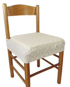 Dettagli su Due cuscini seduta sedia COPRISEDIA con elastico 2 pezzi pois beige