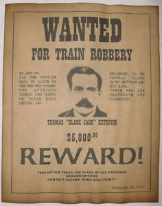 Black Jack Ketchum Wanted Poster, Western, Outlaw, Old West | eBay