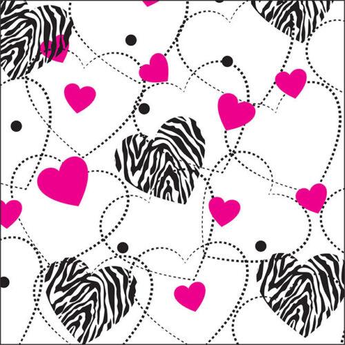 Zebra Hearts Tissue Paper Multi Listing 500x750mm