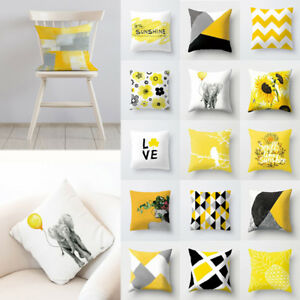 Decorative-Square-Throw-Cushion-Cover-Yellow-Sofa-Car-Pillow-Case-18-Inches-1PC