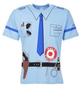 Erwachsenen-Uniform-Kostuem-T-Shirt-POLIZEI-blau-Groessen-M-L-XL-XXL