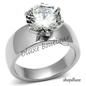 Beautiful-Round-Cut-Stainless-Steel-CZ-Engagement-Ring-Band-Women-039-s-Size-5-10