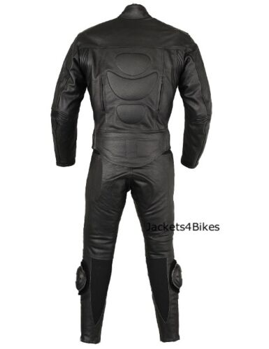 New Men/'s 2PC Motorcycle Leather Riding Black Armor Suit 2 PC Two Piece US