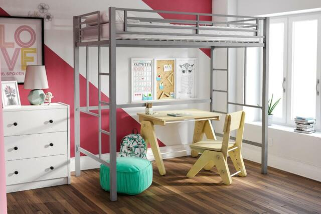 YourZone Metal Loft Bed, Twin Size, Silver Kids Children Furniture Home Room New